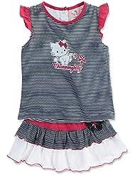 Ensemble jupe et T-shirt bébé fille Charmmy kitty rayé marine/blanc 12mois