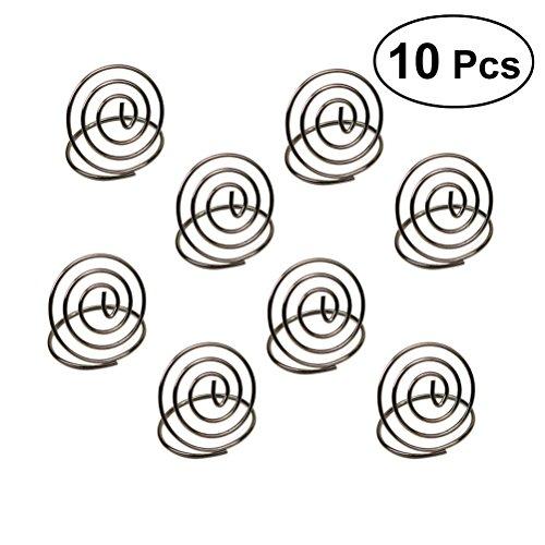(bestonzon 10PCS Edelstahl Creative Runde Form Tischnummernhalter Karte Halter Circle Stereo Note Pad Menu Clips (Silber))