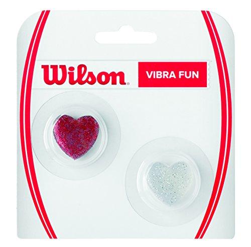 WILSON V Fun, Antivibrazione a Cuore per Racchetta Unisex - Adulto, Rosso/Trasparente, 2 Pezzi