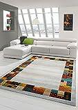 Traum Tappeto Designer Tappeto Moderno Tappeto da Salotto con Bordo Disegno in Crema Rosso Verde Arancione Größe 120x170 cm