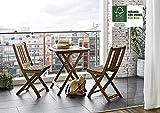 SAM® Gartengruppe, 3tlg, Balkongruppe aus Akazienholz, FSC® 100% zertifiziert, 1x Tisch + 2x Stuhl, geölt, Garten-Gruppe Vergleich