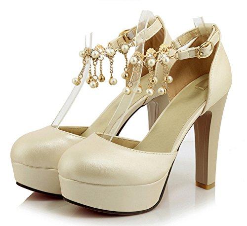 Aisun Damen Elegant Künstlich Perlen Metall Troddel Knöchelriemchen Geschlossen Plateau Sandale Beige
