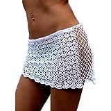 DELEY Femmes Crochet Maille Creux Mini Jupe Courte Maillots De Bain Bikini Couvrir Les