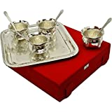 IndianCraftVilla Handmade Silver Plated Bowl Set Of 9 pieces Can be use as kitchenware and Holi,Diwali gifting purpose.