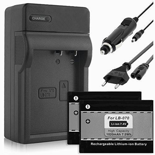 2 Batteries + Chargeur (Auto/Secteur) pour Kodak LB-070 / PIXPRO S-1 S1 / PIXPRO AZ651