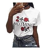 Mangotree Sommer T-Shirt Basic Tees Oberteile Kurzarm Bluse mit Rose Drucken - Damen (M: 34/36, Weiß)