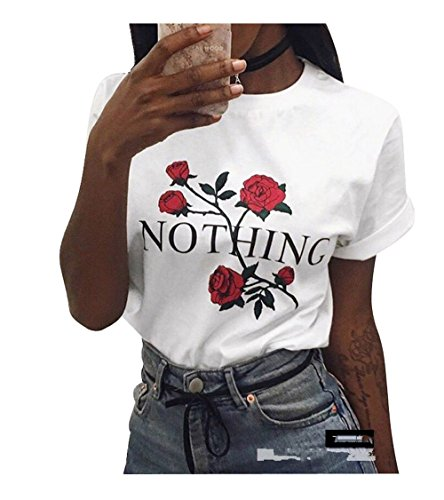 Mangotree Sommer T-Shirt Basic Tees Oberteile Kurzarm Bluse mit Rose Drucken - Damen (L: 38/40, Weiß)