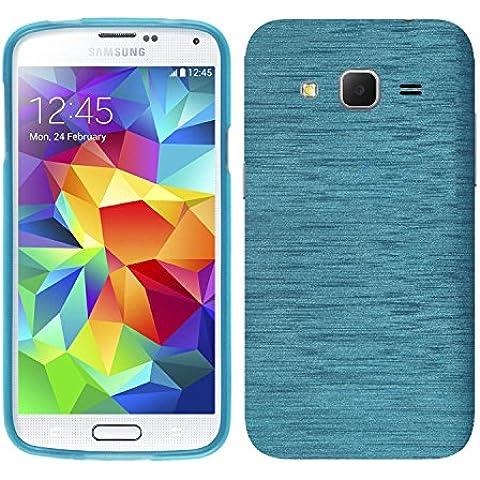 Ambaiyi 2in1 TPU Suave Fudna Brushed Silicona Carcasa + Protector de Pantalla para Samsung Galaxy Core Prime Funda , Azul