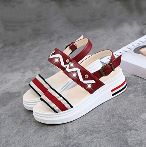 A sandali femminili fondo pesante a forma focaccina-scarpe aperte cinghia casual in sandali con selvatici Red