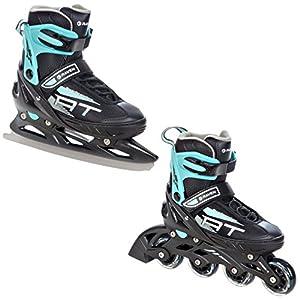 RAVEN 2in1 Schlittschuhe Inline Skates Inliner Profession Black/Mint verstellbar