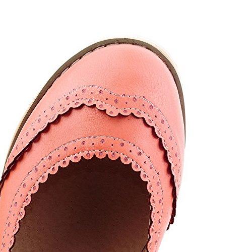 VogueZone009 Femme Rond à Talon Bas Matière Souple Couleur Unie Boucle Chaussures Légeres Rose