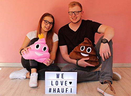 Haufi – Emoji Smiley Poop Kissen – Kopfkissen in Kackhaufen-Form mit Gratis Sammelkarte (Haufi princess) - 6