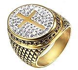Sumouzh Mann Religiös Heilig Kreuz Gebet Voll Diamant Gold Überzogen Rostfreier Stahl Ringe Weihnachten Geschenke