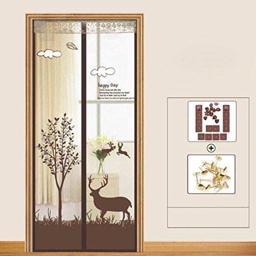 ZZ-aini Magnet Fliegenvorhang Bildschirmtür, Mull Kinderleichte klebemontage Automatisches Schließen Ohne Bohren Fliegengitter Tür insektenschutz-P 130x220cm(51x87inch)