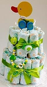 Elfenstall Windeltorte / Pamperstorte mit Schnullerkette / Schnuller und Spielzeug als tolles Geschenk zur Geburt oder Taufe (Neutral)