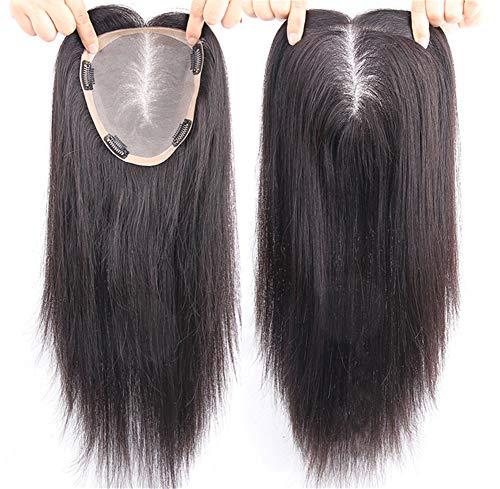 Haarteil für Frauen, mit Scheitel, zum Anklipsen, 15 x 17 cm, große Mono-Krone, für dünner...