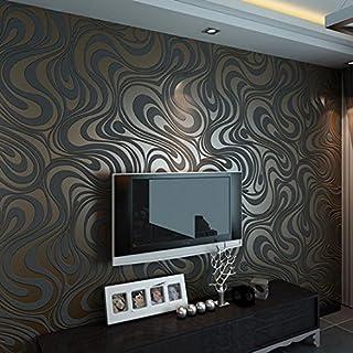 3D Abstrakt Wohnzimmer Tapeten Luxus Vliestapete Fernseher Hintergrund Geprägte Mustertapete Hanmero Vergolden Wandbild Rolle 27.6*330.7 inch (Schwarz)