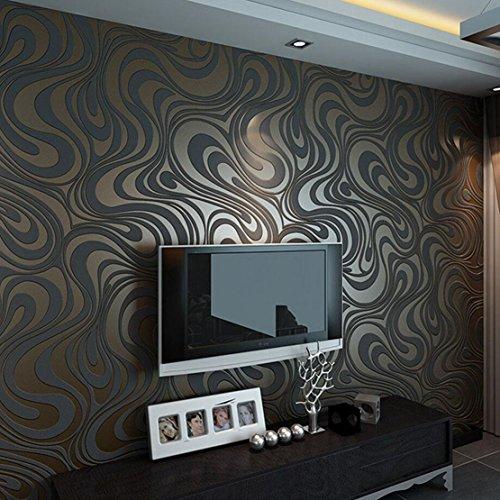 #3D Abstrakt Wohnzimmer Tapeten Luxus Vliestapete Fernseher Hintergrund Geprägte Mustertapete Hanmero Vergolden Wandbild Rolle 27.6*330.7 inch (Schwarz)#