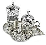 7-teilig Oriantalische Deko Kaffee- Set Herzform Mokka Service Mokkaset, Kahve Seti Mokkatassen Metall , Glas & Porzellan