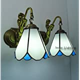 Doble simples Tiffany delante del espejo del dormitorio lámparas de las luces del restaurante sirena azul lámpara de pared junto a la cama del codo