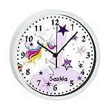 CreaDesign Kinder Wanduhr mit (Wunsch) Namen | Kinderzimmer Uhr| mit Analog - Ziffernblatt | Rahmen weiß geräuscharm | Wanduhr ideal ALS Geschenk für EIN Kind | Motiv Vollblut