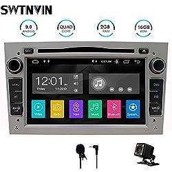 SWTNVIN Android 9 Auto Audio Stereo Kopfeinheit passt für Opel Vauxhall DVD Player Radio 7 Zoll HD Touchscreen GPS Navigation mit Bluetooth WiFi Lenkradsteuerung 2GB + 16GB (Grau)
