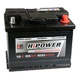 HR HiPower Autobatterie 12V 65Ah 600A/EN Starterbatterie ersetzt 55Ah 60Ah 62Ah 63Ah
