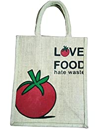 Pooja Bags Jute Shopping Bag Love Food Printed Set Of 2 PCs (Red, Size: 12*10*6 Inches)