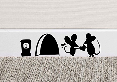 Maus Love Herz Art Wand Aufkleber Vinyl Aufkleber Mäuse Home Sockelleiste Funny