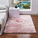 LIYINGKEJI Faux-Schaffell-Wolldecken-weiche flaumige haarige große Teppich-Abdeckungs-Nicht Beleg-Matten für Stuhl-Bett-Sofa-Boden mit extralanger Wolle, rechteckiger Teppich (Rosa, 60 X150 cm)