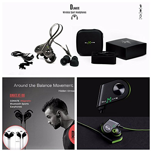 Wireless Headphones with Mic by DJMATE® - Best Bluetooth Sports Earphones with Noise Cancellation - Luxury Magnetic Smart Sweatproof Earbuds with Zipper Bag (Green)