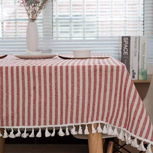 Dinar Nappe en Coton Lin Blanc à Carreaux décoration de noël Nappe Couleur Balle Pompon Anti-poussière Housse en Tissu Red Plaid 120cm X 120cm