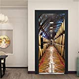 GXJAWYZ Porte Autocollant Décoration 3D-Cave À Vin-Salon Cuisine Chambre Salle De Bains Papier Peint-95x215cm