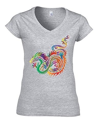 Tribal dragon Women's V-Neck T-Shirt Medium