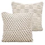 casamia Deko-Kissen-Set, 2 Stück Sofa-Kissen Zierkissen Kuschelkissen Pom Pom & Strick-Design mit Inlet und Füllung, wollweiß handgefertigt