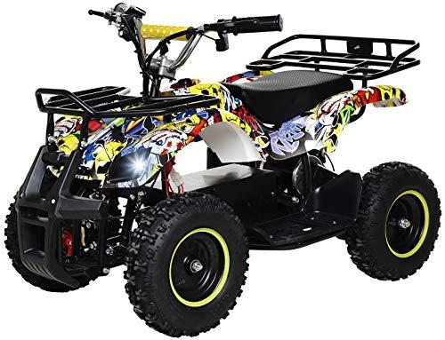 Actionbikes Motors Kinder Elektro Miniquad ATV Torino 800 Watt 36 Volt - Scheibenbremsen - Safety Touch System Fußschalter (Gelb Graffiti)