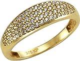 Celesta Gold Damen Ring 9 Karat 375 Gelbgold Zirkonia weiß Rundschliff Gr. 54 (17.2) 324370135-2-054