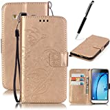GrandEver PU Wallet Case for Samsung Galaxy J3 Flip Bookstyle Cover Pressed Flower Butterfly Solid Color Folio Shell,Galaxy J3 PU Leather Cell Phone Holster with Hand Strap Stand Function Credit Card Slots Magnet Closure Anti-Drops Dustproof Protective Shell for Samsung Galaxy J3 (2015/2016)+ {Stylus Pen} --- Golden