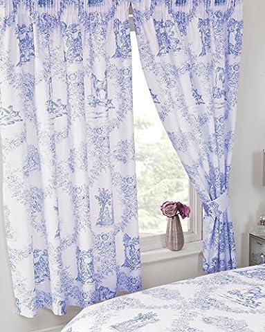 167,6x 182,9cm Toile de Jouy Bleu, rideaux + embrasses assorties, par My Home, Damas Country Motif floral traditionnel