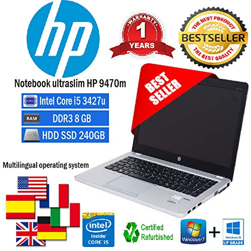NOTEBOOK RICONDIZIONATO ULTRASLIM HP FOLIO 9470M INTEL CORE I5 3427U 1.80GHZ/8GB/SSD 240GB/WEB/WIN 10 PRO )