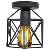 Industrial Vintage Deckenleuchte Retro Deckenlampe Industrie Kronleuchter Geometrischen Metall Käfig Lampenschirm Erröten-Einfassung-Licht mit E26/E27 Fassung für Flur Schlafzimmer