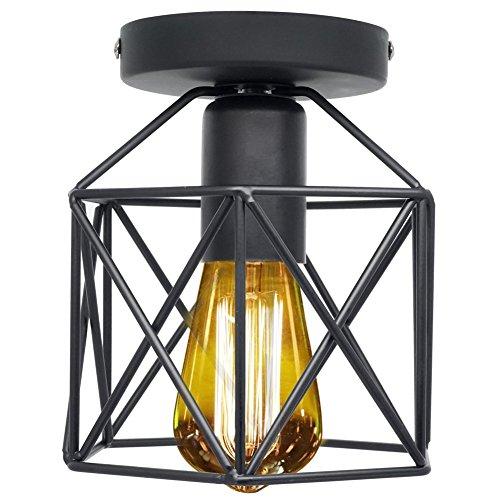 Industriel Retro Plafonnier, Vintage Lampe Suspension Plafonnier semi-affleurant rustique métal suspension luminaire pour entrée,allée, porche,couloir,chambre,Café Bar Restaurent Salle à Manger