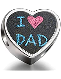 Bracelet Charm Bead I Love Dad Father's Day theme Heart Sterling Silver Charm Beads Biagi beads European Charms Bracelets