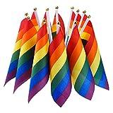 12 Stück Regenbogenflagge Homosexueller Stolz Lesbischer Frieden LGBT Regenbogenflagge Banner Festival Karneval