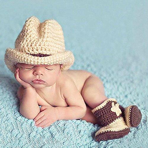 TININNA Neugeborenes Baby Mädchen Mädchen Stütze Reizend Häkeln Gestrickte Cowboy Hut Stiefel Set EINWEG Verpackung (Cowboy-hut Und Stiefel)
