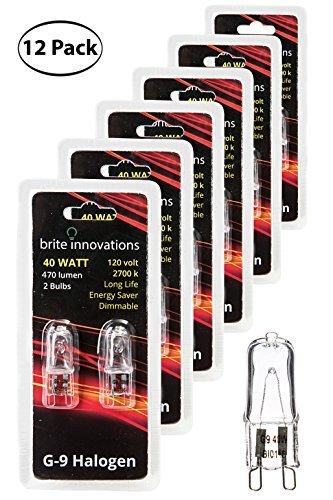 Brite Innovations G9Halogen Glühbirne, 40Watt-Energiesparend-dimmbar-Soft weiß 2700K-120V-Q40, CL, T4JD Typ, klar Leuchtmittel, 12-Pack, g9 40.0 wattsW 120.0 voltsV -