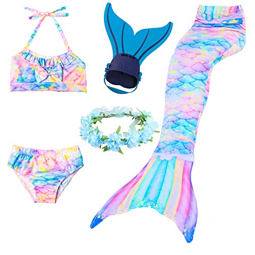 Mädchen Meerjungfrau Schwanz Badeanzug - Prinzessin Cosplay Bademode für das Schwimmen mit Bikini Set und Monoflosse, 4 Stück - Glück 4 Stück Kostüm