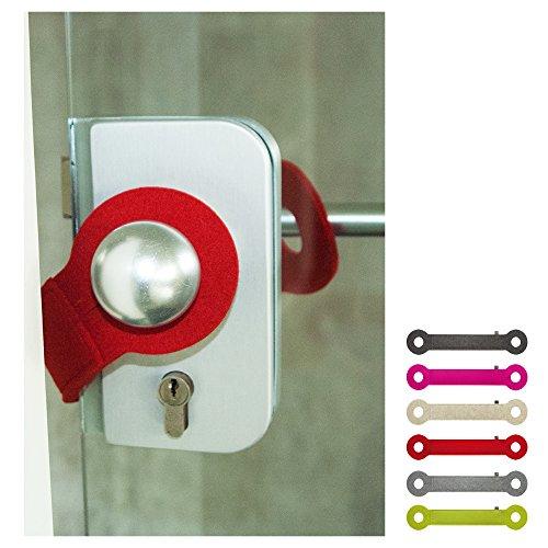 ebos Türstopper aus 100% Wollfilz   handgefertigter Klemmschutz, Stopper, Türpuffer   Universell einsetzbar, passend für alle Türklinken   rot