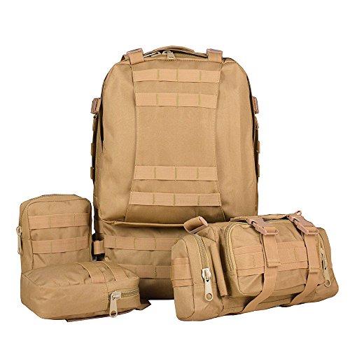 Imagen de ttlife 55l  de senderismo con 3 bolsos desmontable y multifuncional, táctica, militar,molle de viaje para camping negro/camuflaje/kahki/acu  alternativa