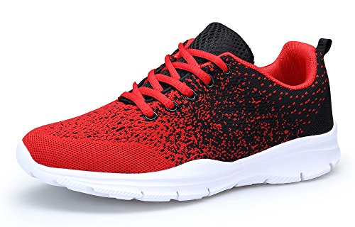 DAFENP Zapatillas Running Hombre Mujer Zapatos Deporte para Correr Trail Fitness Sneakers Ligero Transpirable XZ747-M-redblack-42EU